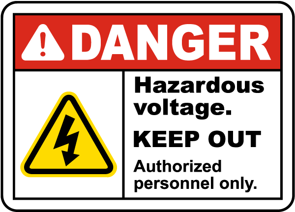 Hazardous Voltage Keep Out Label