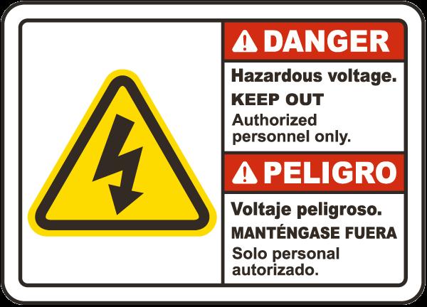 Bilingual Danger Hazardous Voltage Label By Safetysign Com