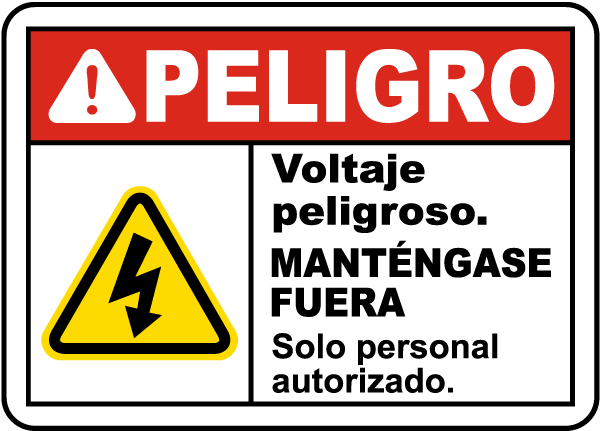 Spanish Danger Hazardous Voltage Keep Out Label