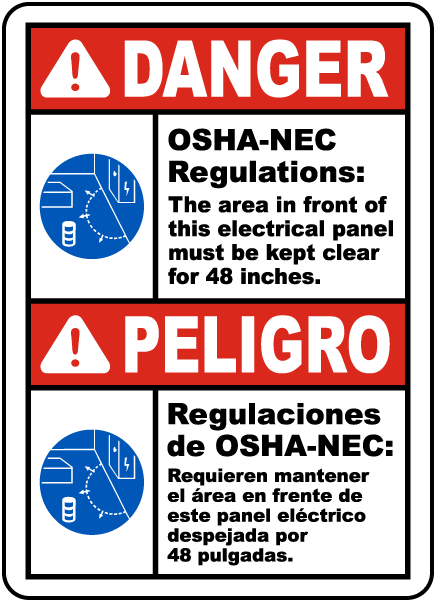 Bilingual Danger Panel Must Be Clear For 48 Inches Sign