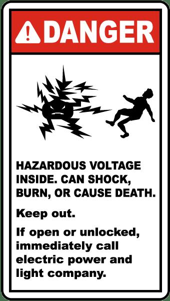 Danger Hazardous Voltage Label By Safetysign Com E4221