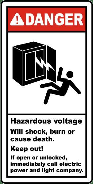 Danger Hazardous Voltage Label By Safetysign Com E4227