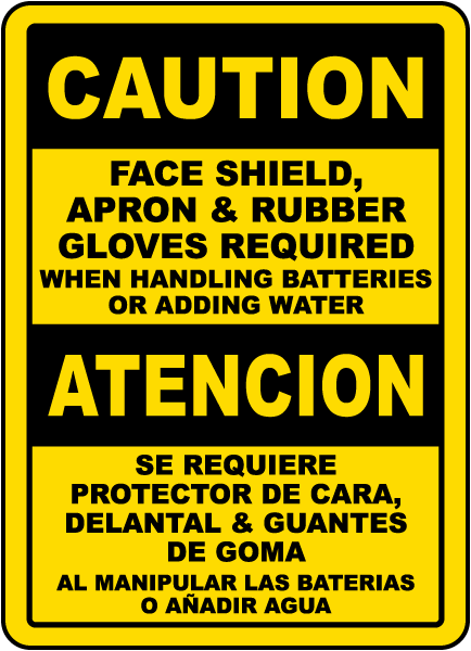 Bilingual When Handling Batteries or Adding Water Sign