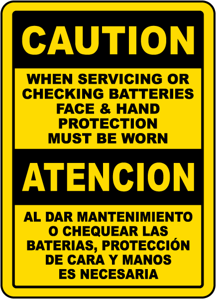Bilingual Caution When Servicing Batteries Sign