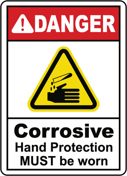 Danger Corrosive Hand Protection Required