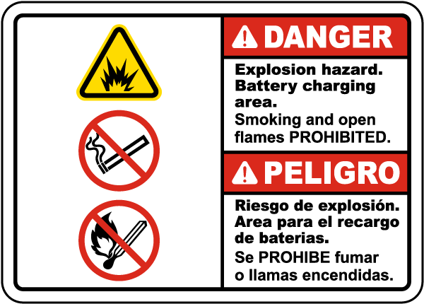 Bilingual Danger Explosion Hazard Charging Area Sign