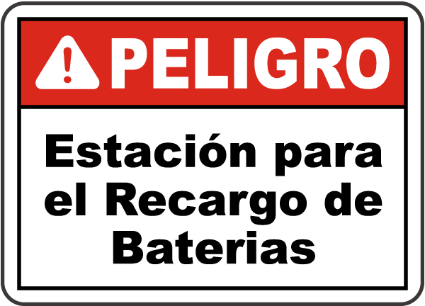 Spanish Danger Battery Charging Area Sign