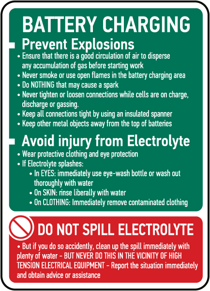 Battery Charging Instructions Sign E4634 By Safetysign