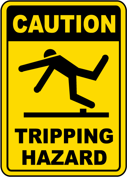 caution tripping hazard sign e5332 by safetysign com