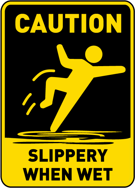 caution slippery when wet sign by safetysign     e5358