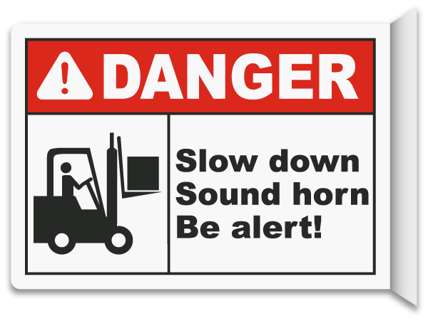 2 way slow down sound horn sign e5615 by safetysign com