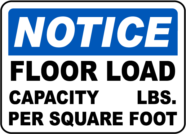Floor Load Capacity Per Square Foot Sign F1646 By
