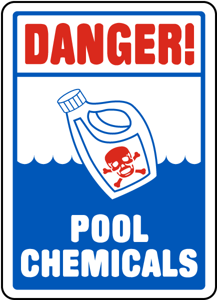 danger pool chemicals sign - Pool Signs