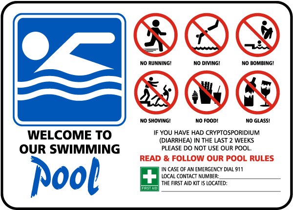 Pool Rules Sign F6972 By