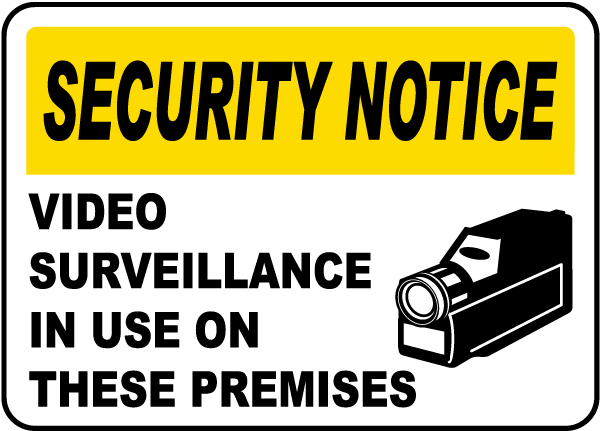 "Video Surveillance Vinyl Sign 2 Pack 7X10"" Sticker Self-Adhesive Decal Pos"