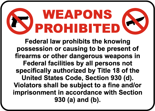 Law Prohibited Weapons In Federal Property