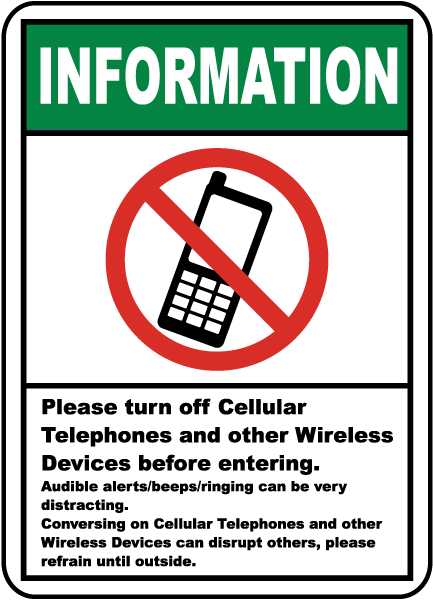 serenity zone please turn off your cell phone engraved sign sku