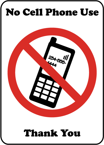 no cell phone use thank you sign