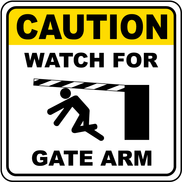 caution watch for gate arm sign f7317 by safetysign com