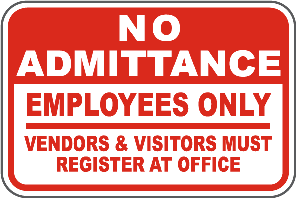 Visitors Register At Office Sign F7328 - by SafetySign.com