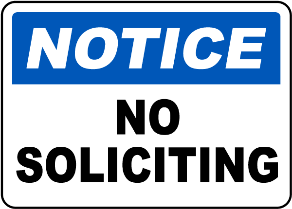 It is a photo of Printable No Soliciting Sign intended for cursive