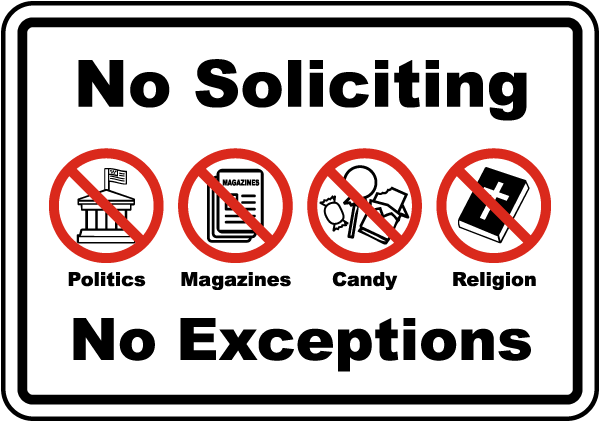Fresh No Soliciting No Exceptions Sign F7382 - by SafetySign.com JK33