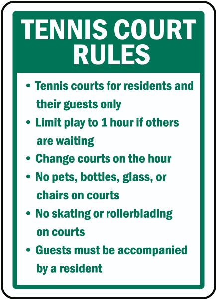 Rules For A Girls Bedroom: Tennis Court Rules Sign F7749