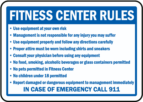 Fitness center rules sign f by safetysign