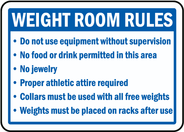 Weight room rules sign f by safetysign