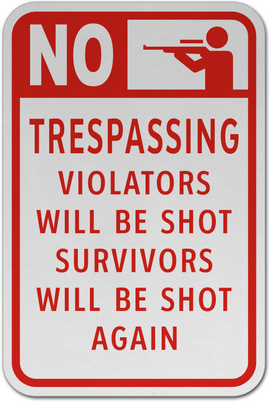 No Trespassing CGSignLab 5-Pack Basic Gray Premium Brushed Aluminum Sign 24x6