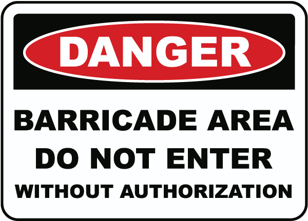 Barricade Area Do Not Enter Sign F7879 - by SafetySign.com