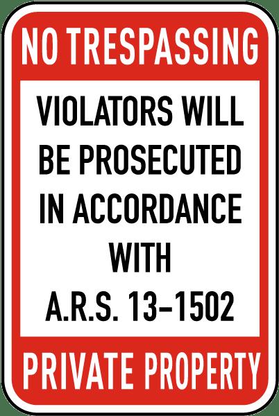 Arizona No Trespassing Sign