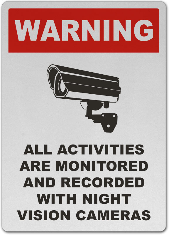 Monitored By Night Vision Camera Sign