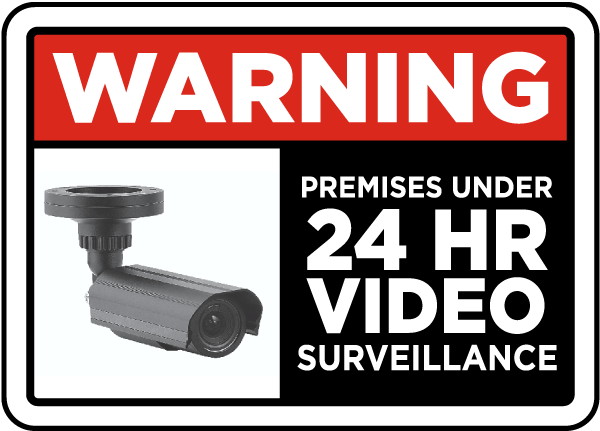 SECURITY SURVEILLANCE SIGN 3 Signs /& 3 Free Decal video 24 Hour protection