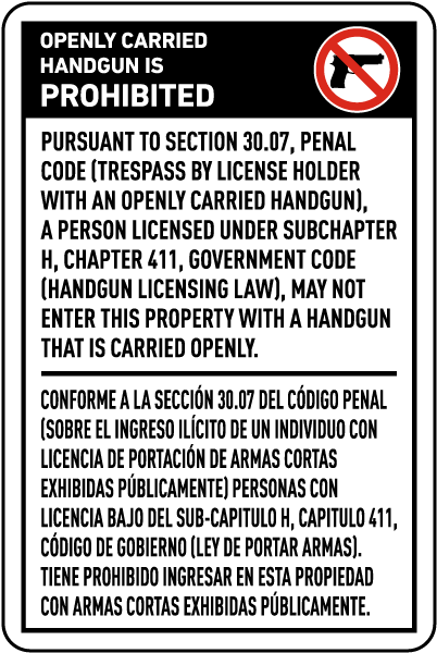 Bilingual Texas 30.07 No Openly Carried Handguns Sign