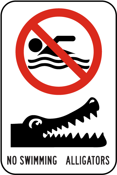 no swimming alligators sign f8204 by safetysign com