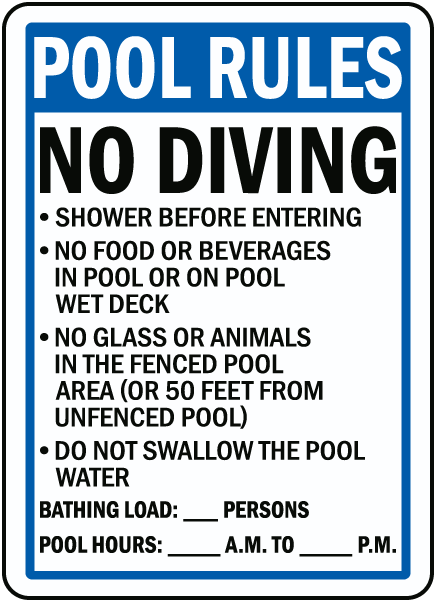 florida pool rules no diving sign - Pool Signs