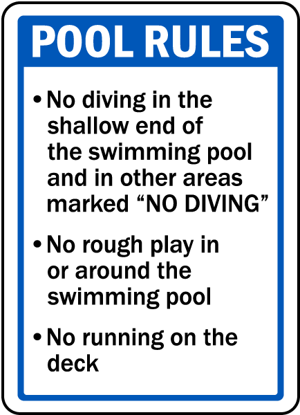iowa pool rules sign f8265 by