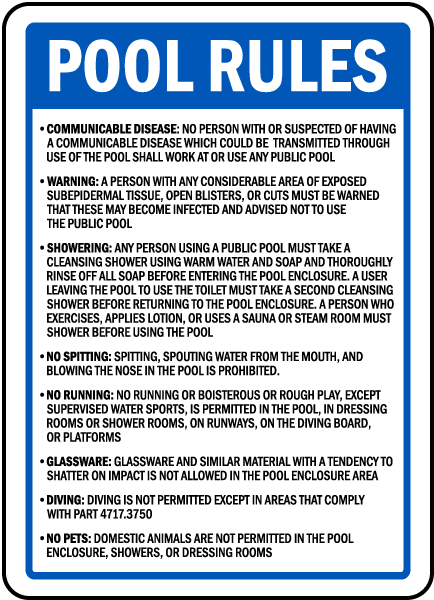 minnesota pool rules sign - Pool Signs