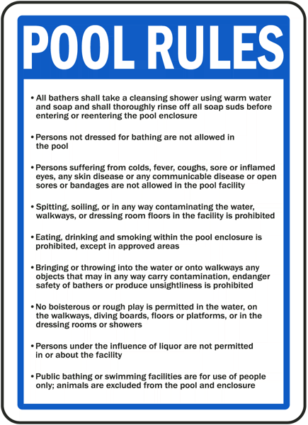 Nevada pool rules sign f8309 by for Design your own bathers