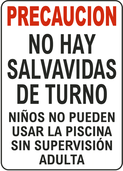 Spanish Texas No Lifeguard Sign