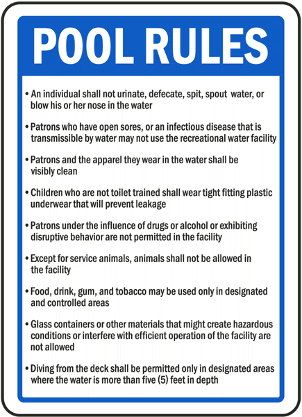 West Virginia Pool Rules Sign F8389 By