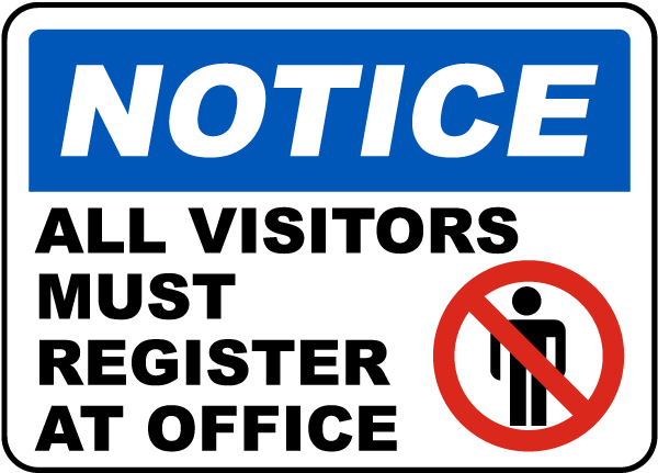 visitors register at office sign g1888 by safetysign com