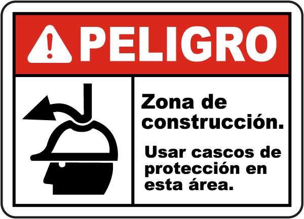 Spanish Danger Hard Hats Must Be Worn on Site Sign