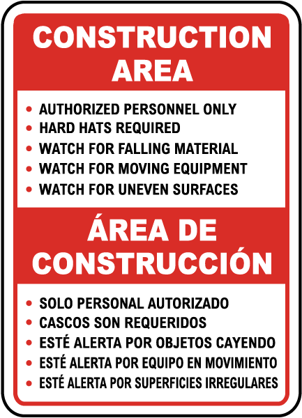 Bilingual Construction Area Rules Sign
