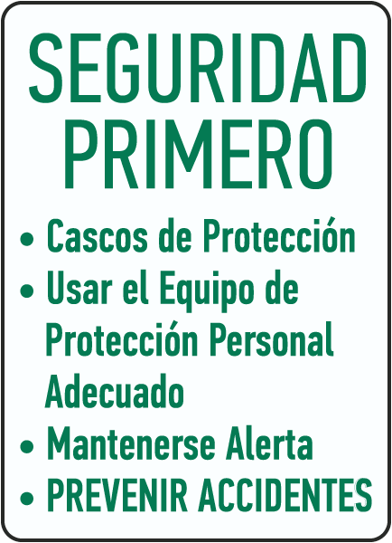 Spanish Hard Hats Required Use Proper PPE Keep Alert Sign