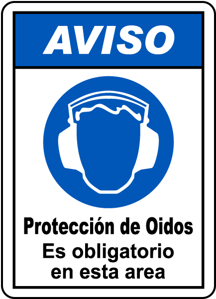 Spanish Notice Hearing Protection Must Be Worn Sign
