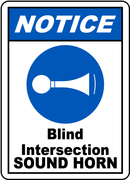blind intersection sound horn sign g2454 by safetysign com