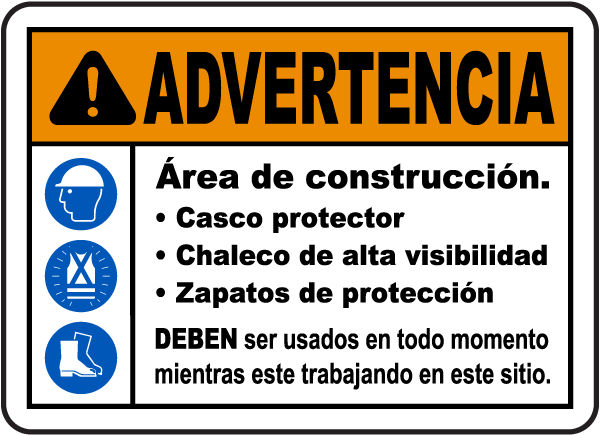 Spanish Warning Construction Area PPE Sign