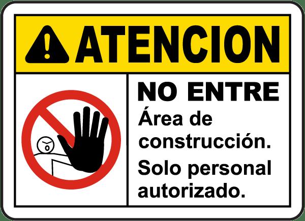 Spanish Caution Construction Area Do Not Enter Sign
